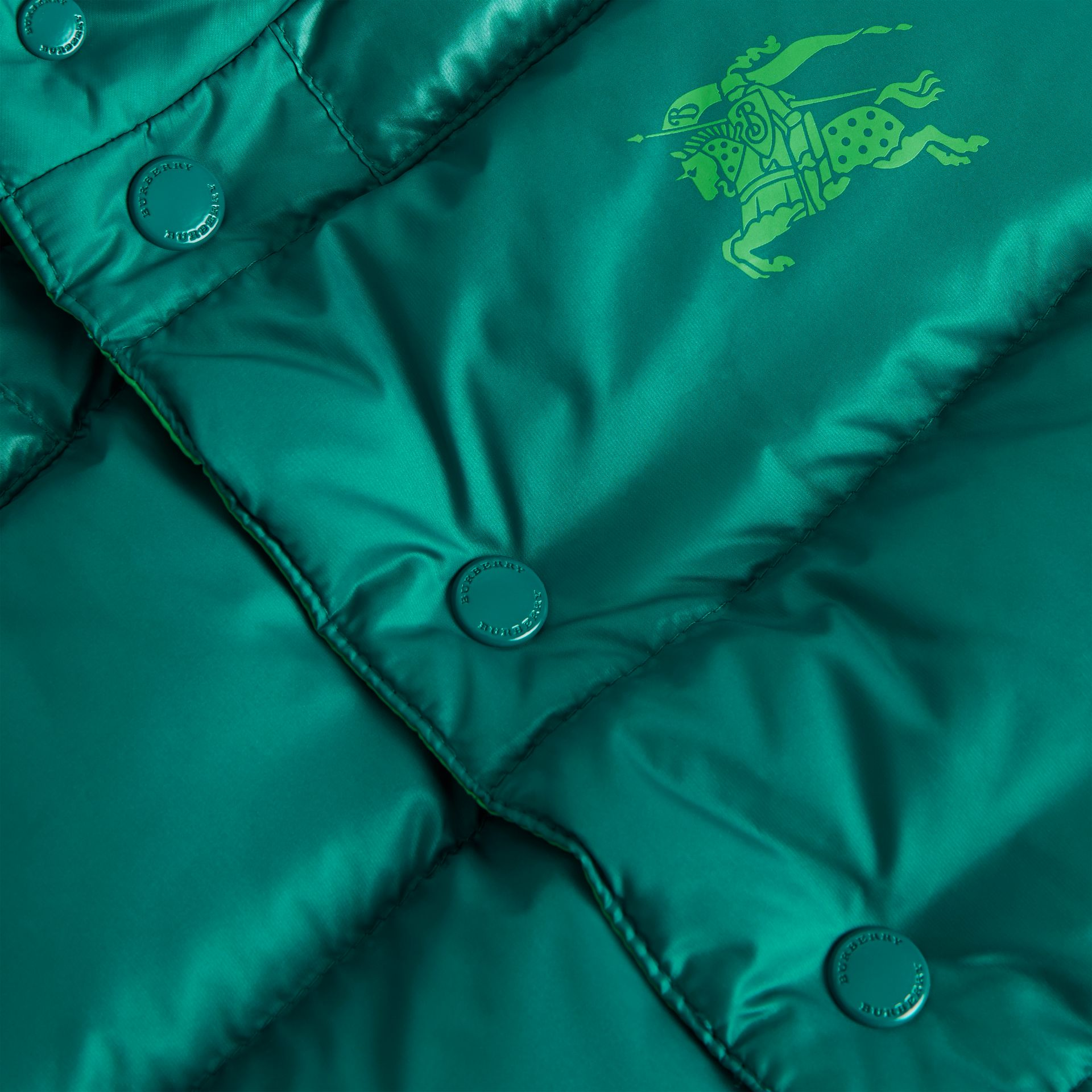 Reversible Showerproof Down-filled Hooded Gilet in Dark Cyan | Burberry - gallery image 1