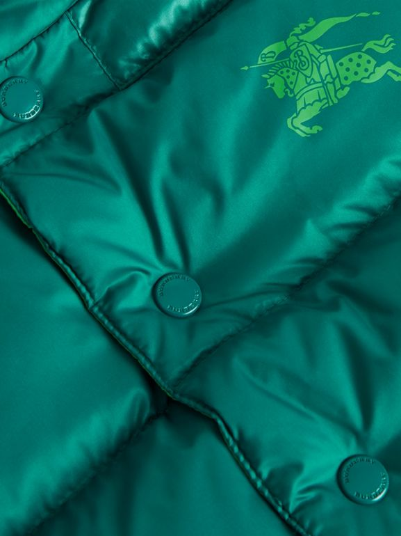 Reversible Showerproof Down-filled Hooded Gilet in Dark Cyan | Burberry - cell image 1