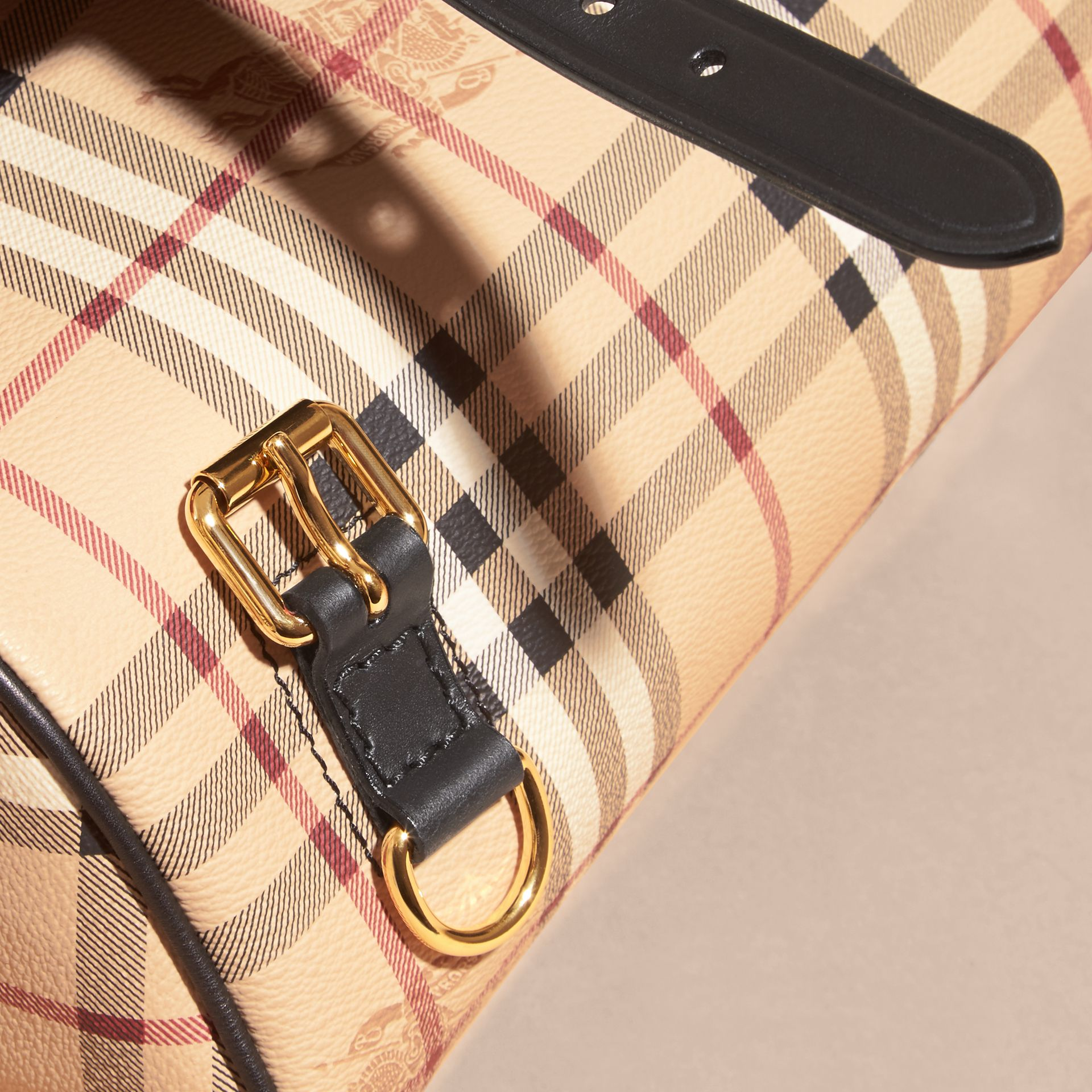 The Medium Bridle in Leather and Haymarket Check in Black - Men | Burberry United Kingdom - gallery image 2