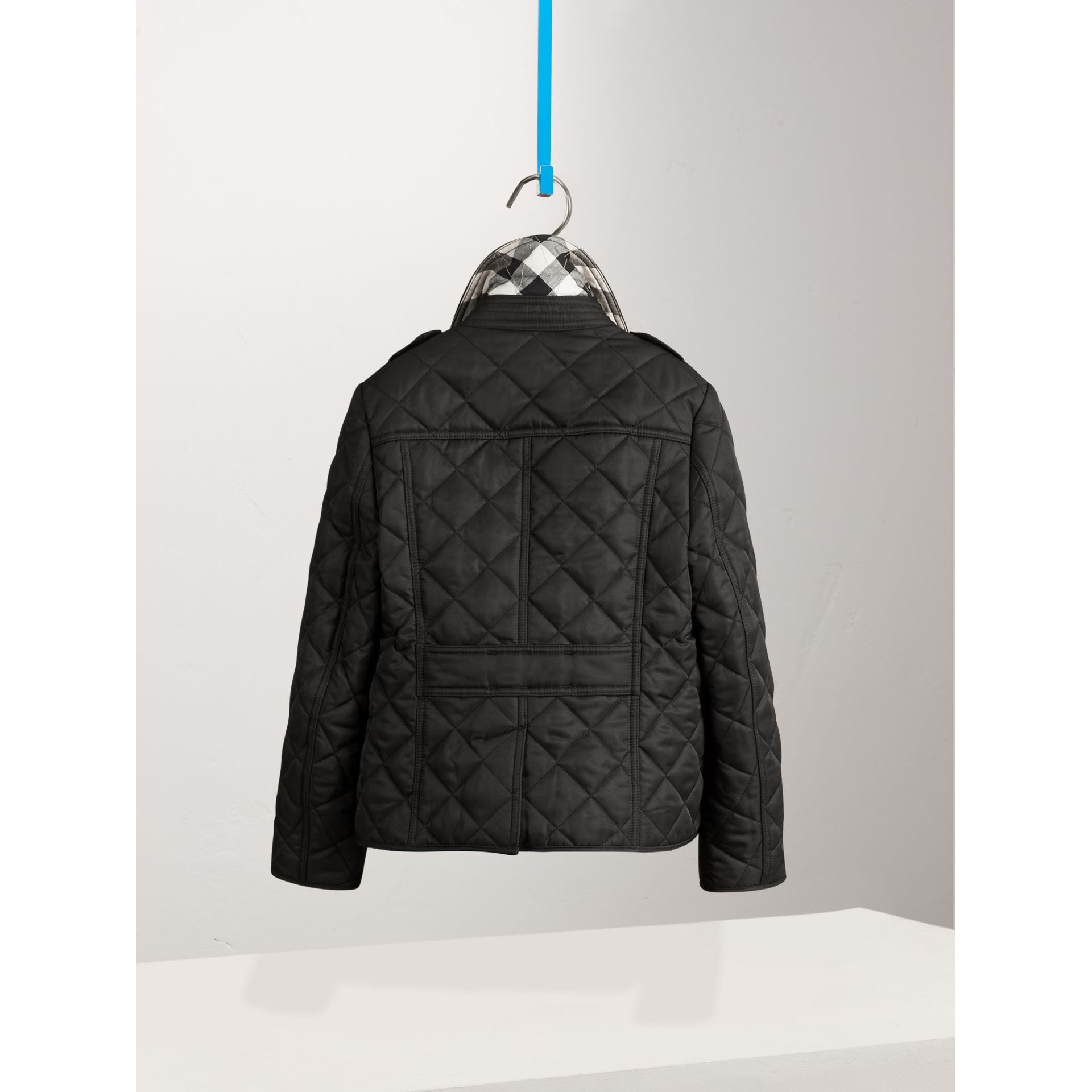 Check Lined Diamond Quilted Jacket in Black - Girl | Burberry - gallery image 0