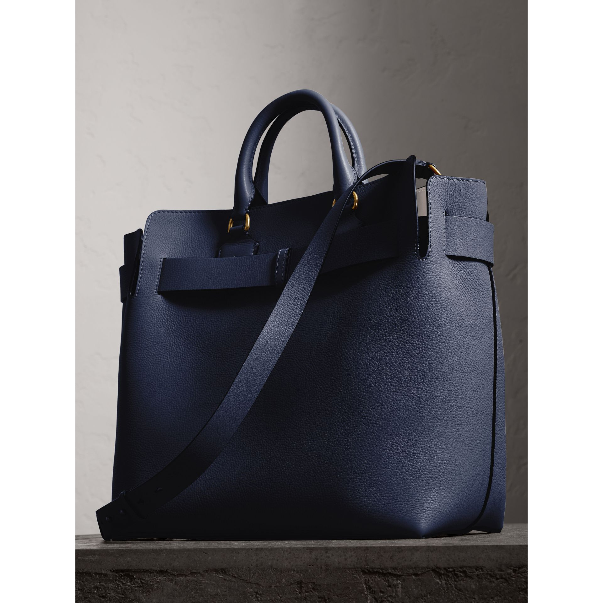 The Large Leather Belt Bag in Regency Blue | Burberry Singapore - gallery image 4