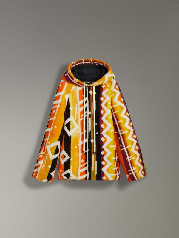 Clash Print Shearling Hoodie in Yellow - Women | Burberry - cell image 3