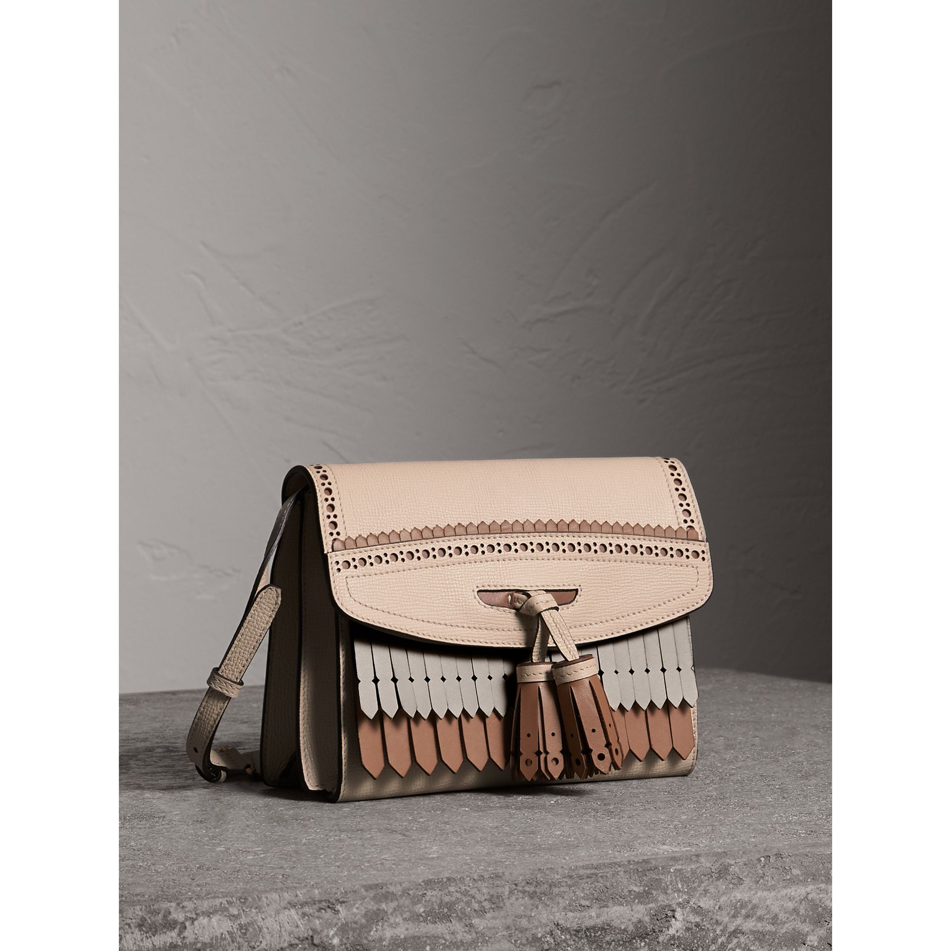 Brogue and Fringe Detail Leather Crossbody Bag in Limestone - Women | Burberry - gallery image 6