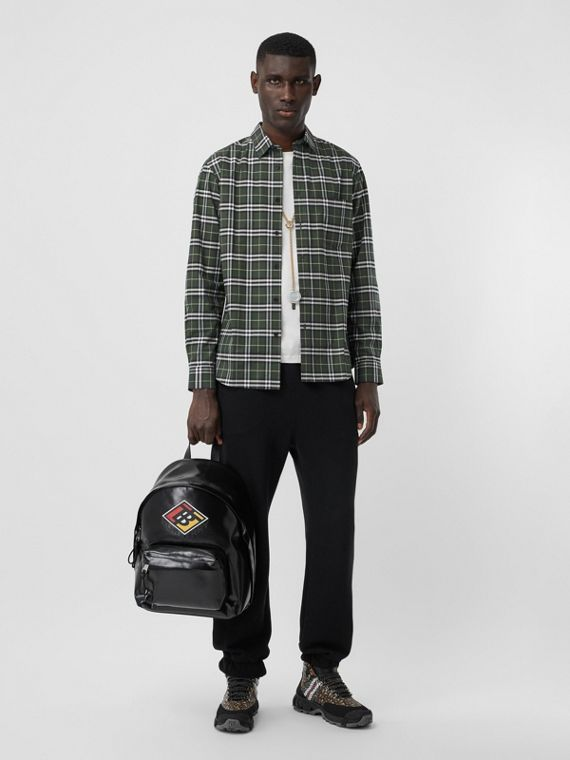 Small Scale Check Stretch Cotton Shirt in Seaweed
