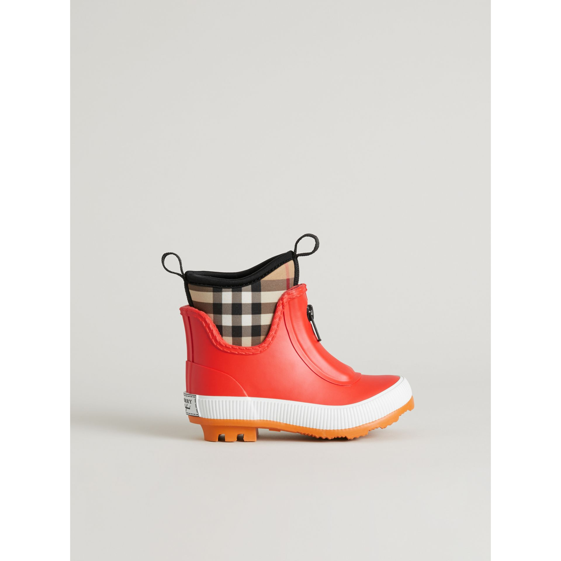 Vintage Check Neoprene and Rubber Rain Boots in Bright Red - Children | Burberry Canada - gallery image 3