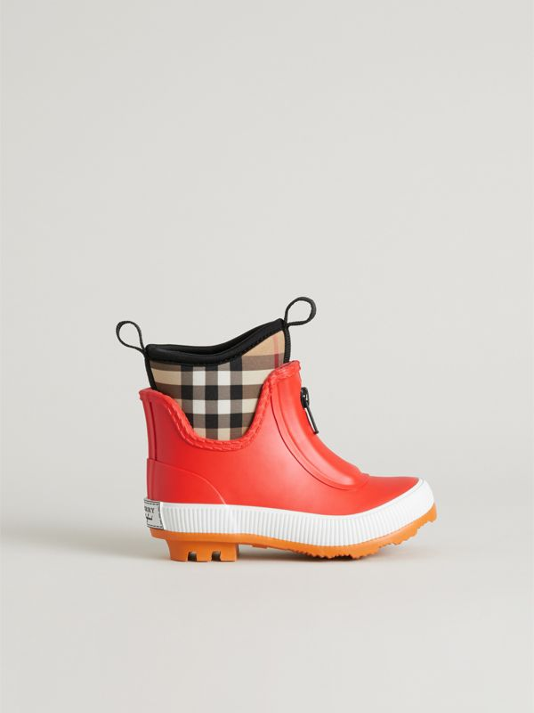 Vintage Check Neoprene and Rubber Rain Boots in Bright Red - Children | Burberry - cell image 3