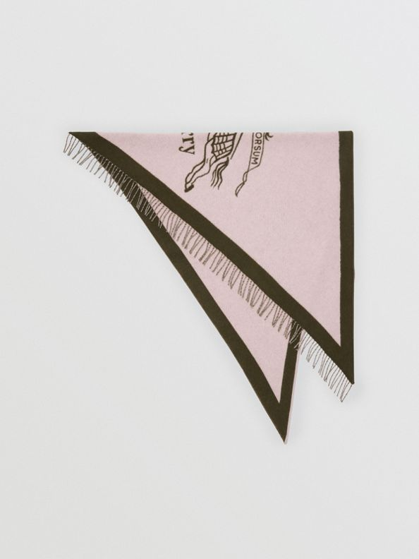 The Burberry Bandana in Crest Detail Wool Cashmere in Chalk Pink