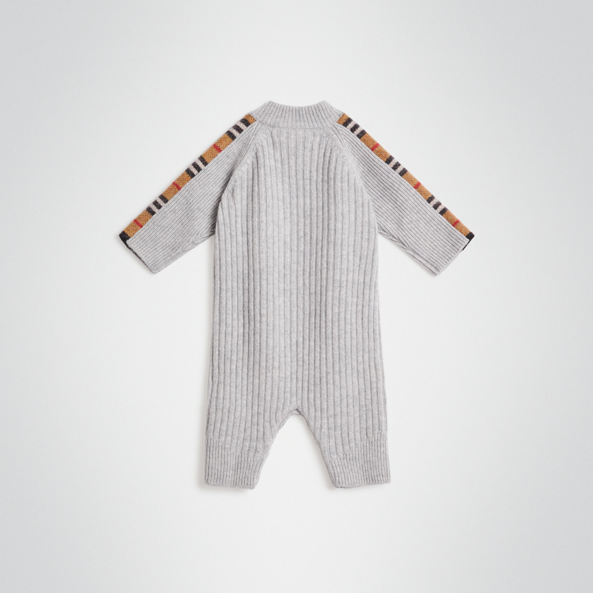 Check Detail Cashmere Jumpsuit in Light Grey Melange - Children | Burberry United Kingdom - gallery image 3