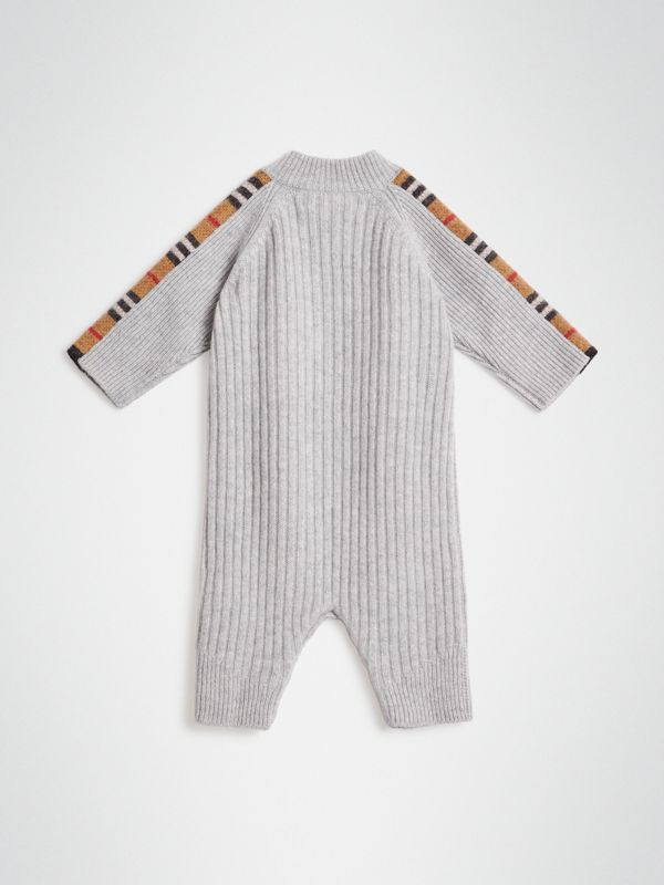 Check Detail Cashmere Jumpsuit in Light Grey Melange - Children | Burberry United Kingdom - cell image 3