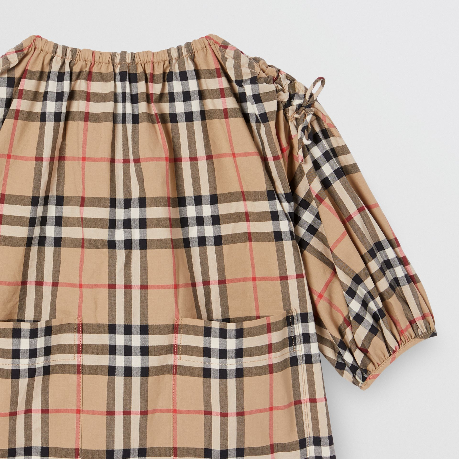 Gathered Sleeve Vintage Check Cotton Dress in Archive Beige - Children | Burberry Canada - gallery image 4