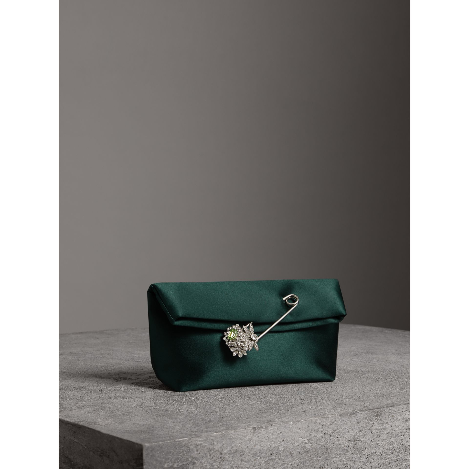 The Small Pin Clutch in Satin in Dark Forest Green - Women | Burberry - gallery image 6