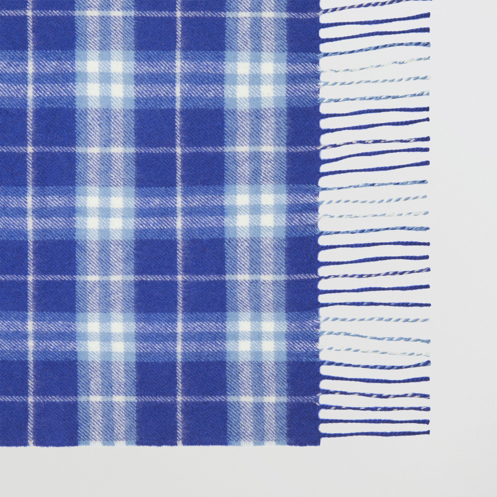 The Classic Vintage Check Cashmere Scarf in Bright Lapis | Burberry - gallery image 1