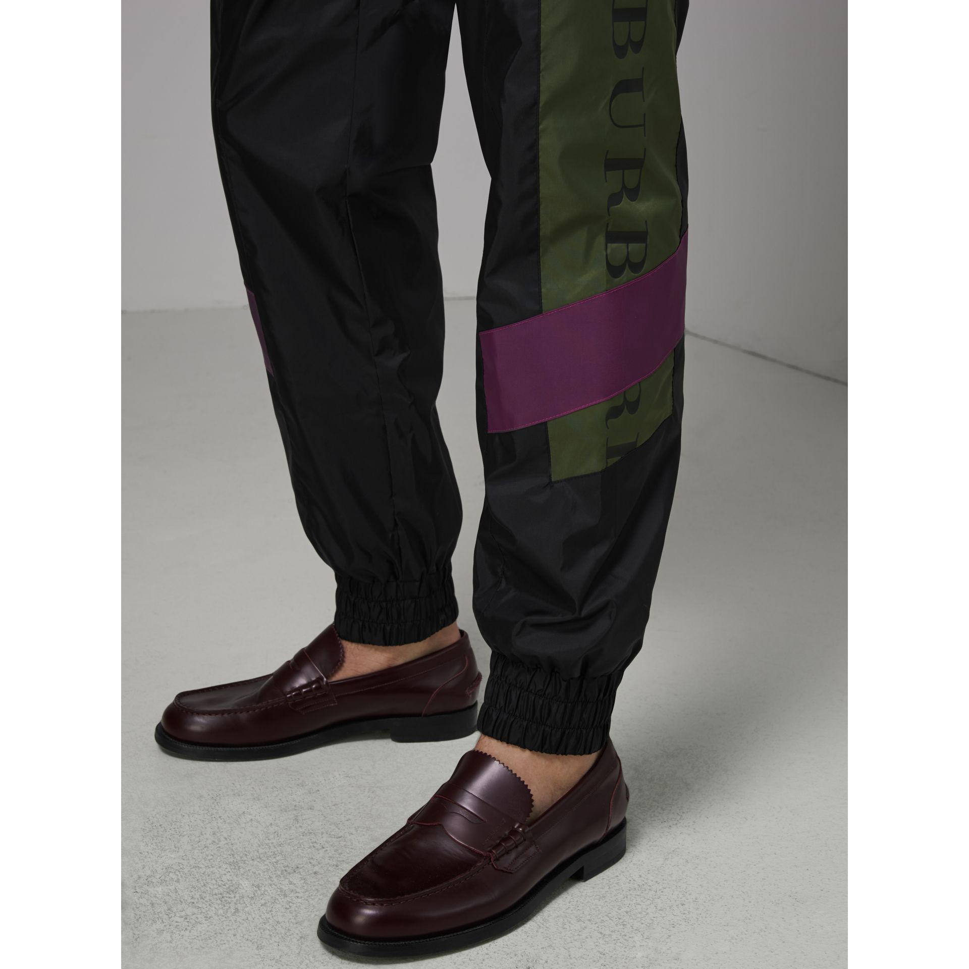 Logo Panel Shell Suit Pants in Black - Men | Burberry Australia - gallery image 1