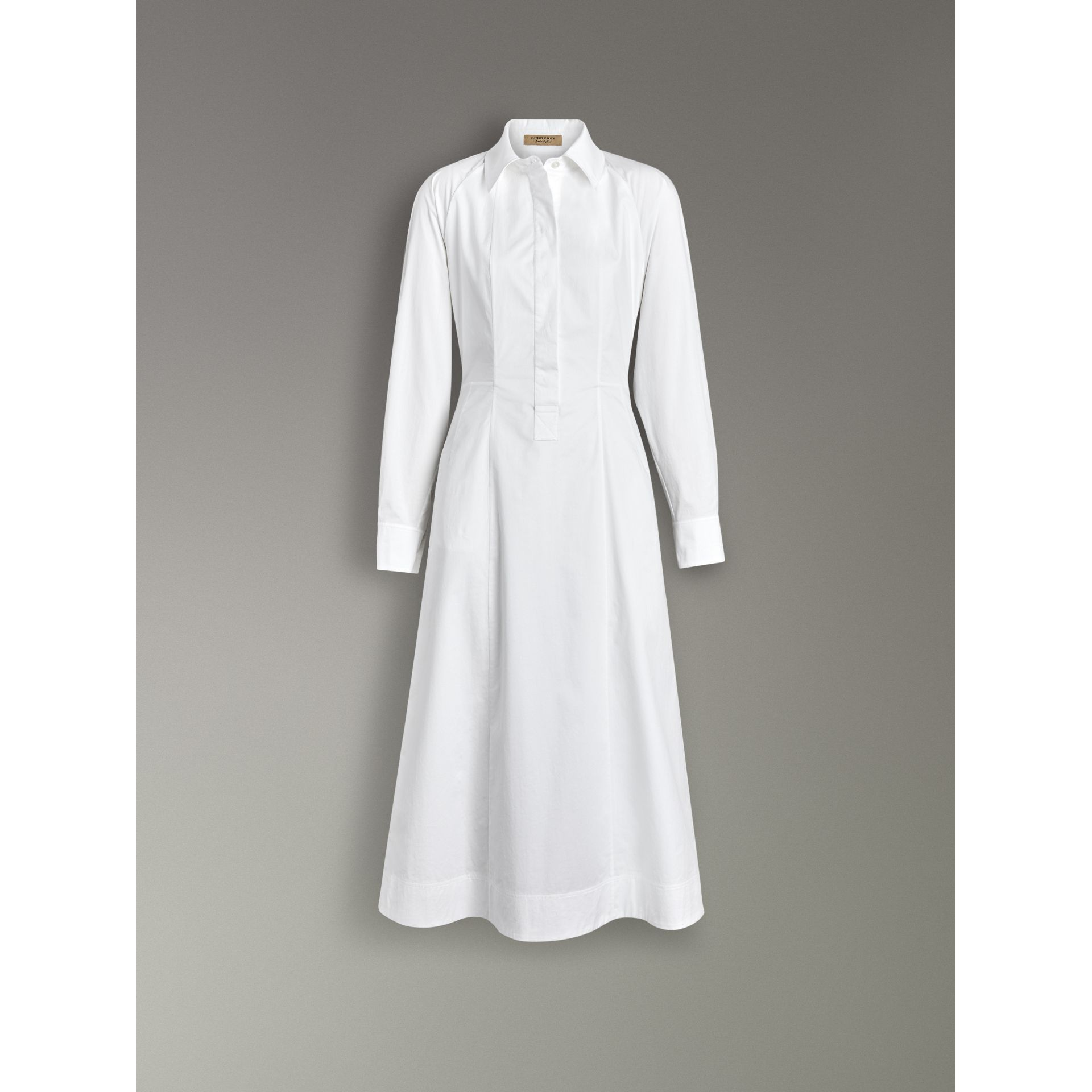 Panelled Stretch Cotton Shirt Dress in White - Women | Burberry - gallery image 3