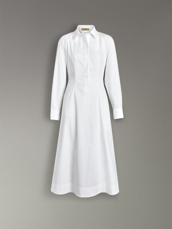 Panelled Stretch Cotton Shirt Dress in White - Women | Burberry - cell image 3