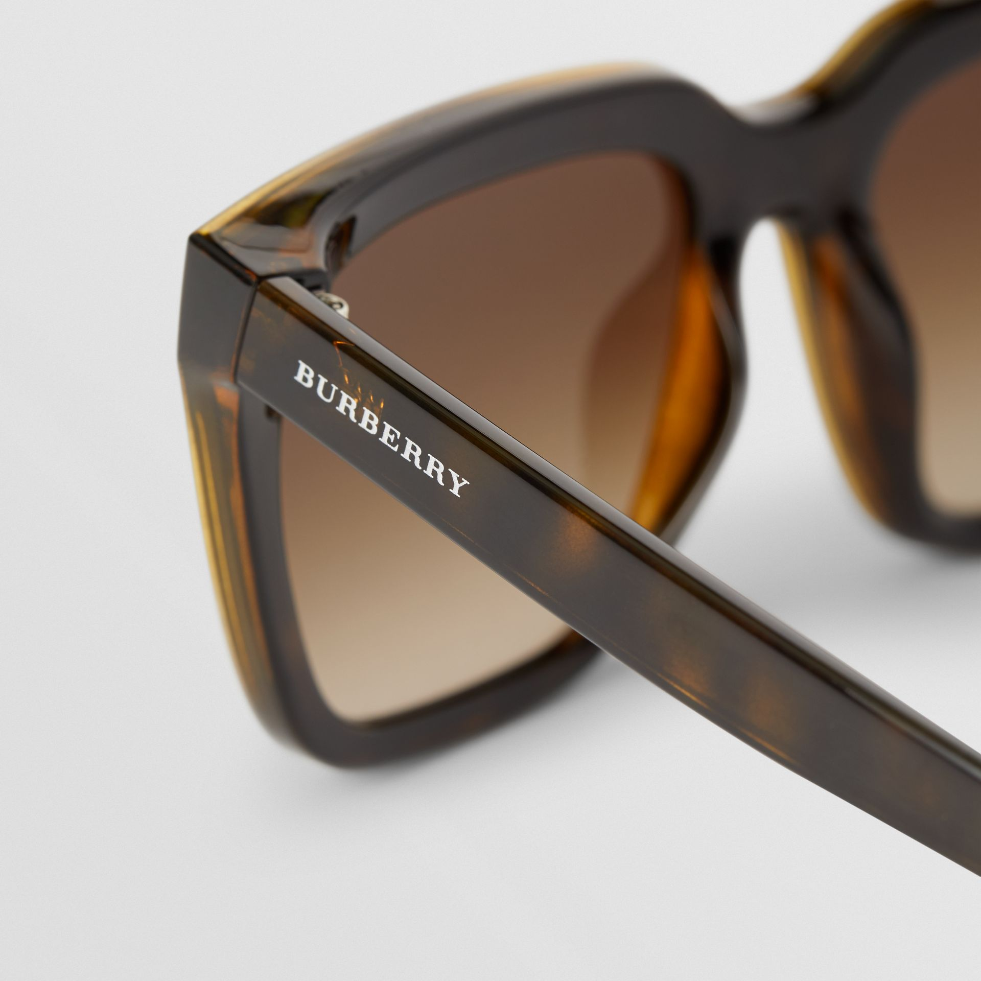 Square Frame Shield Sunglasses in Tortoise Shell - Women | Burberry - gallery image 1