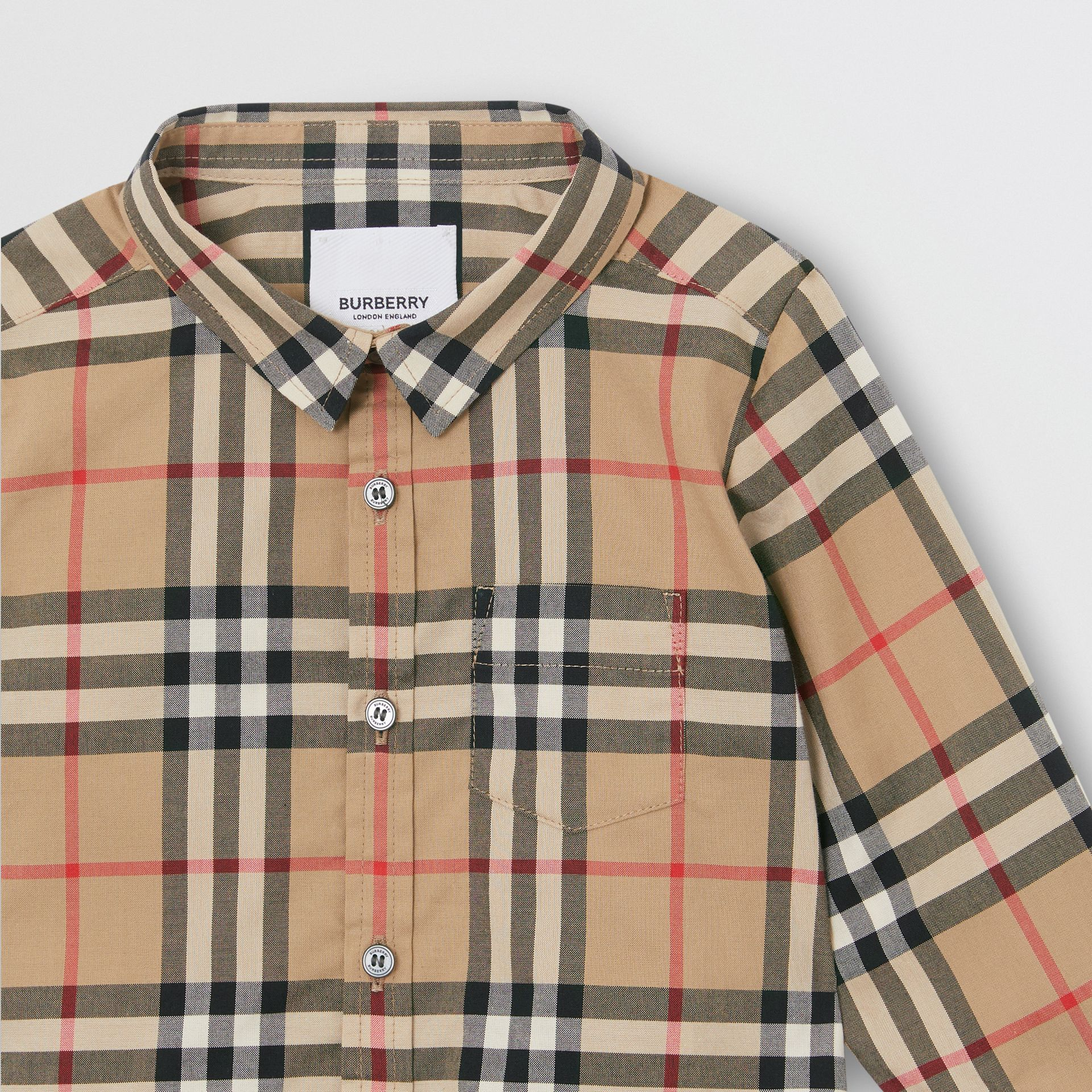 Vintage Check Cotton Shirt in Archive Beige - Children | Burberry Australia - gallery image 4