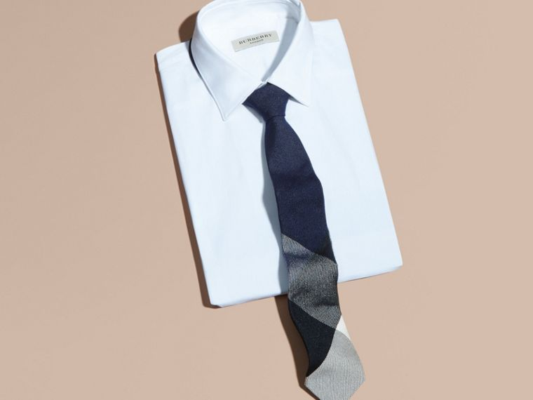 Navy Modern Cut Check Cashmere Silk Tie Navy - cell image 2