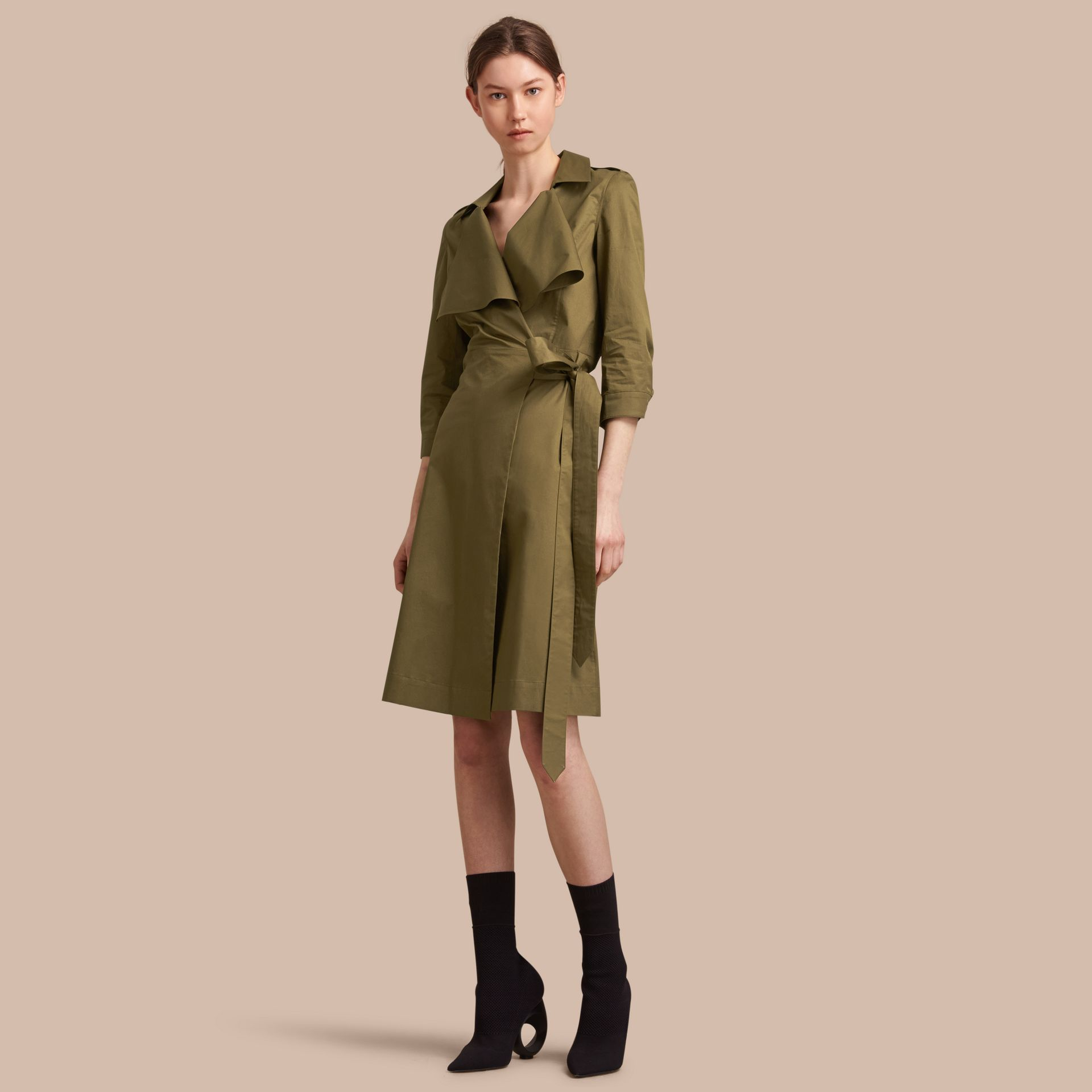 Oversize Lapel Stretch Cotton Trench Dress - gallery image 1