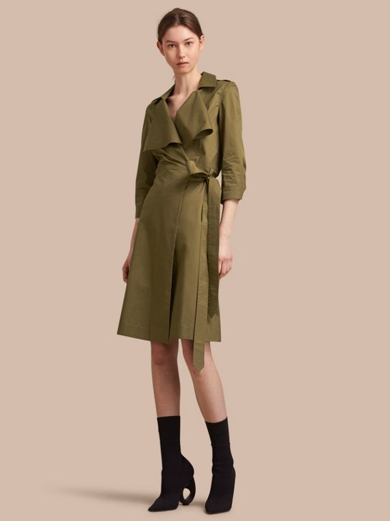 Oversize Lapel Stretch Cotton Trench Dress