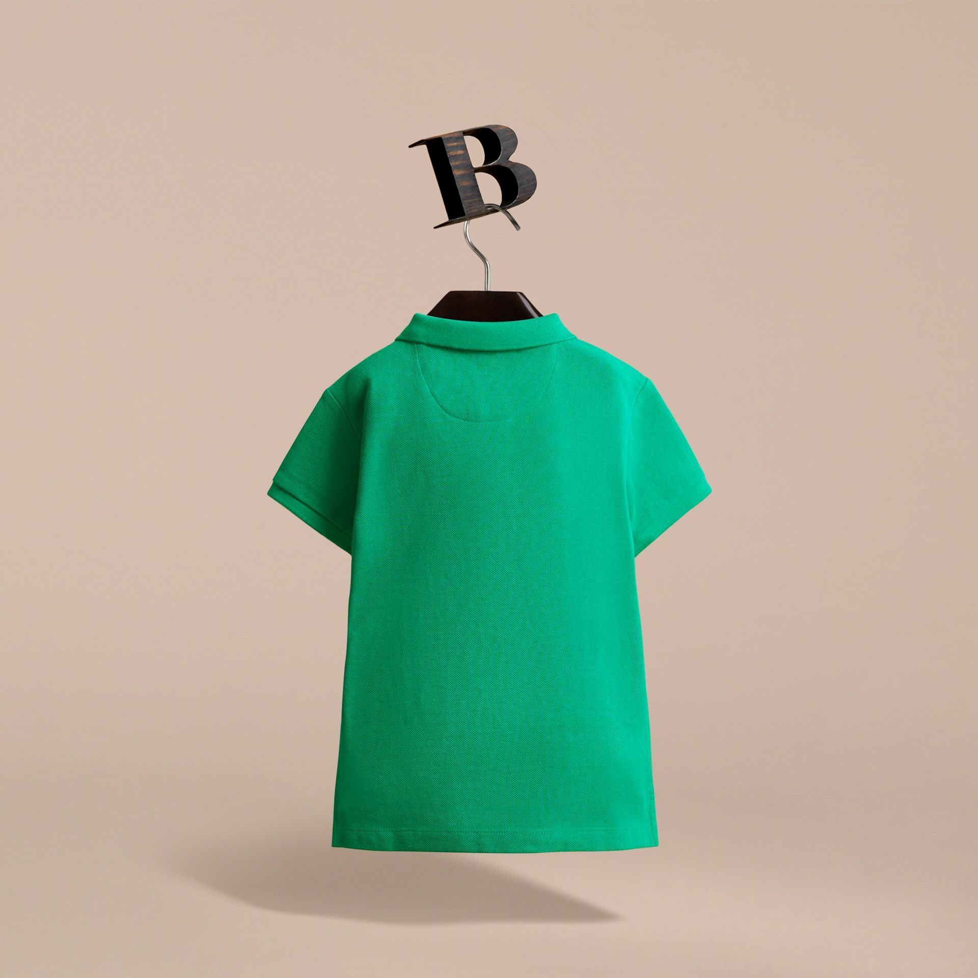 Check Placket Polo Shirt in Bright Green | Burberry - gallery image 4