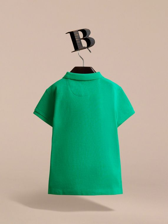 Check Placket Polo Shirt in Bright Green - Boy | Burberry - cell image 3