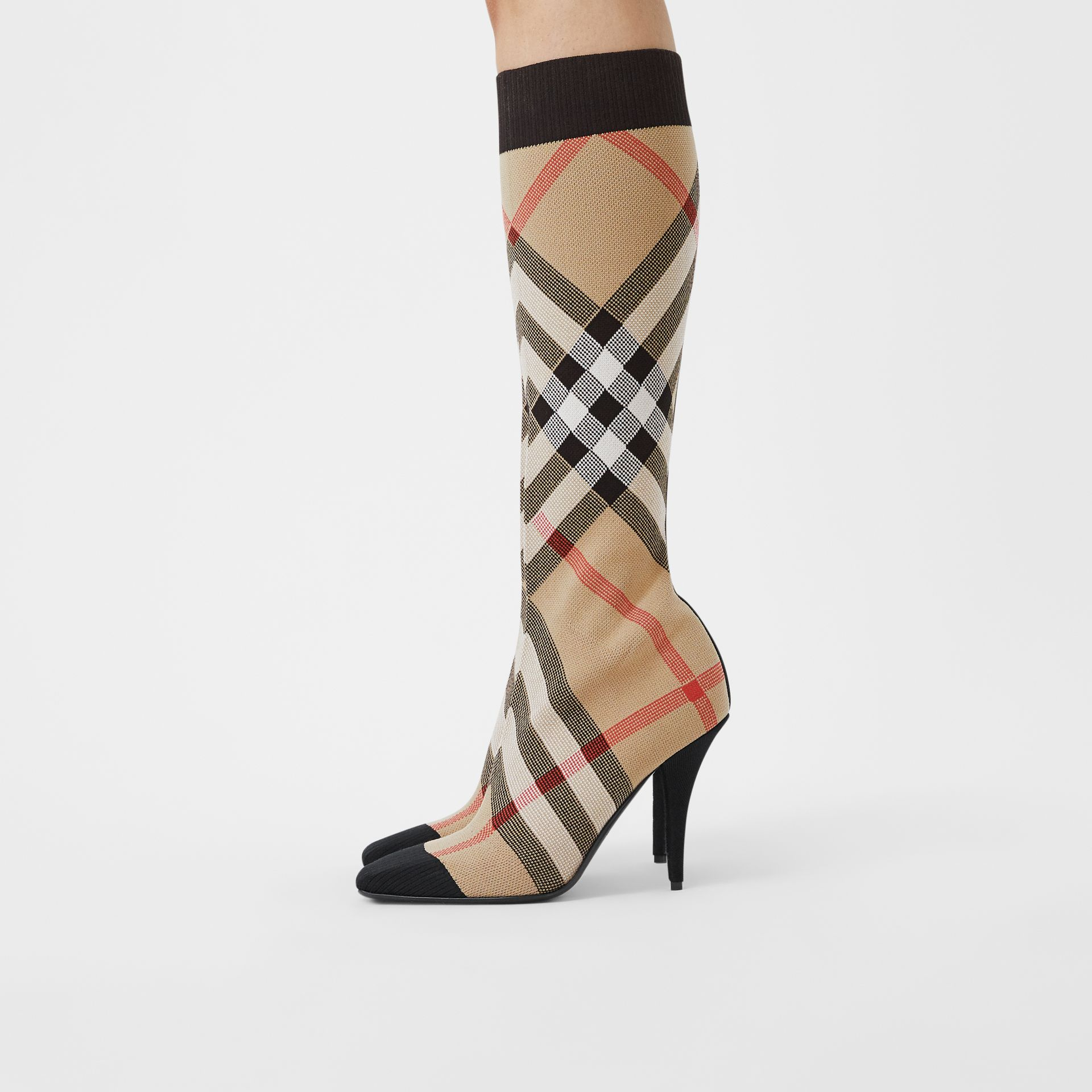 Check Stretch Knit Sock Boots in Archive Beige - Women | Burberry United Kingdom - gallery image 2