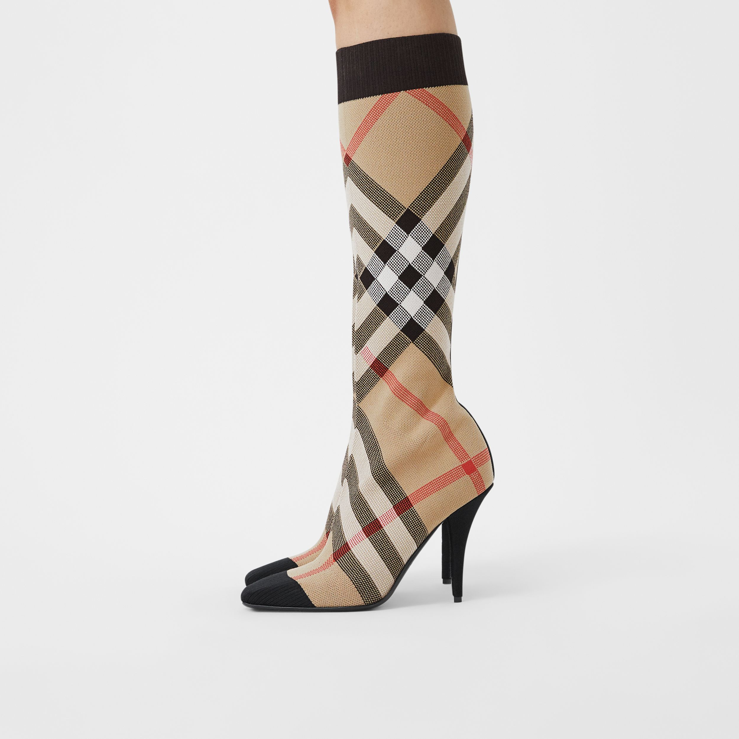 Check Stretch Knit Sock Boots in Archive Beige - Women | Burberry United Kingdom - 3