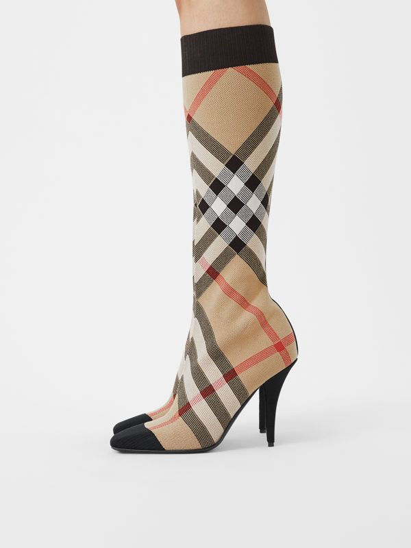 Check Stretch Knit Sock Boots in Archive Beige - Women | Burberry United Kingdom - cell image 2