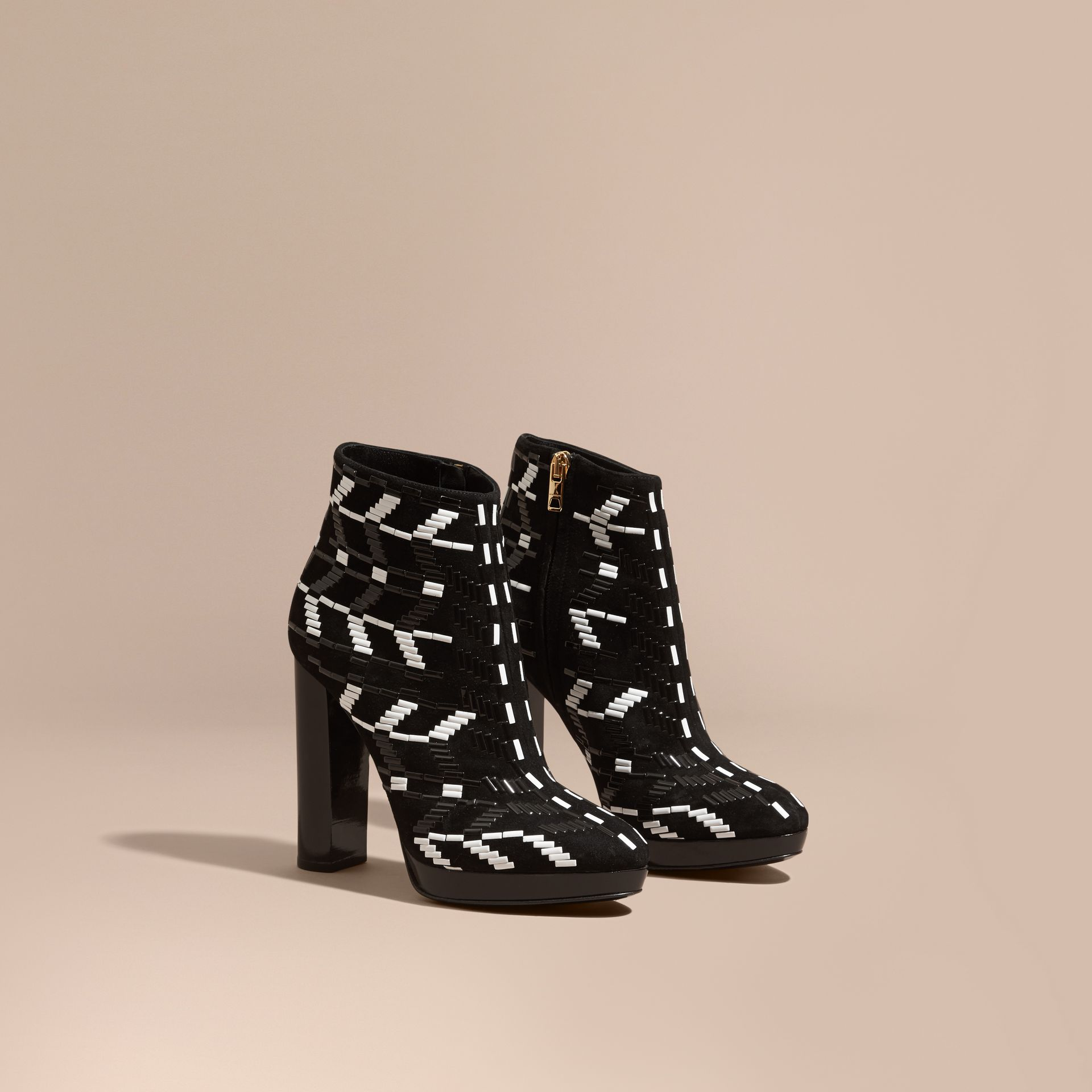 Black Beaded Suede Platform Ankle Boots - gallery image 1
