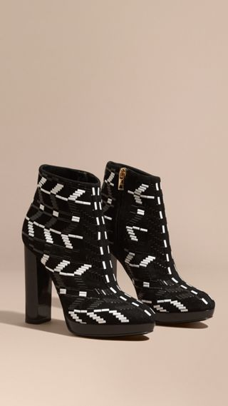 Beaded Suede Platform Ankle Boots
