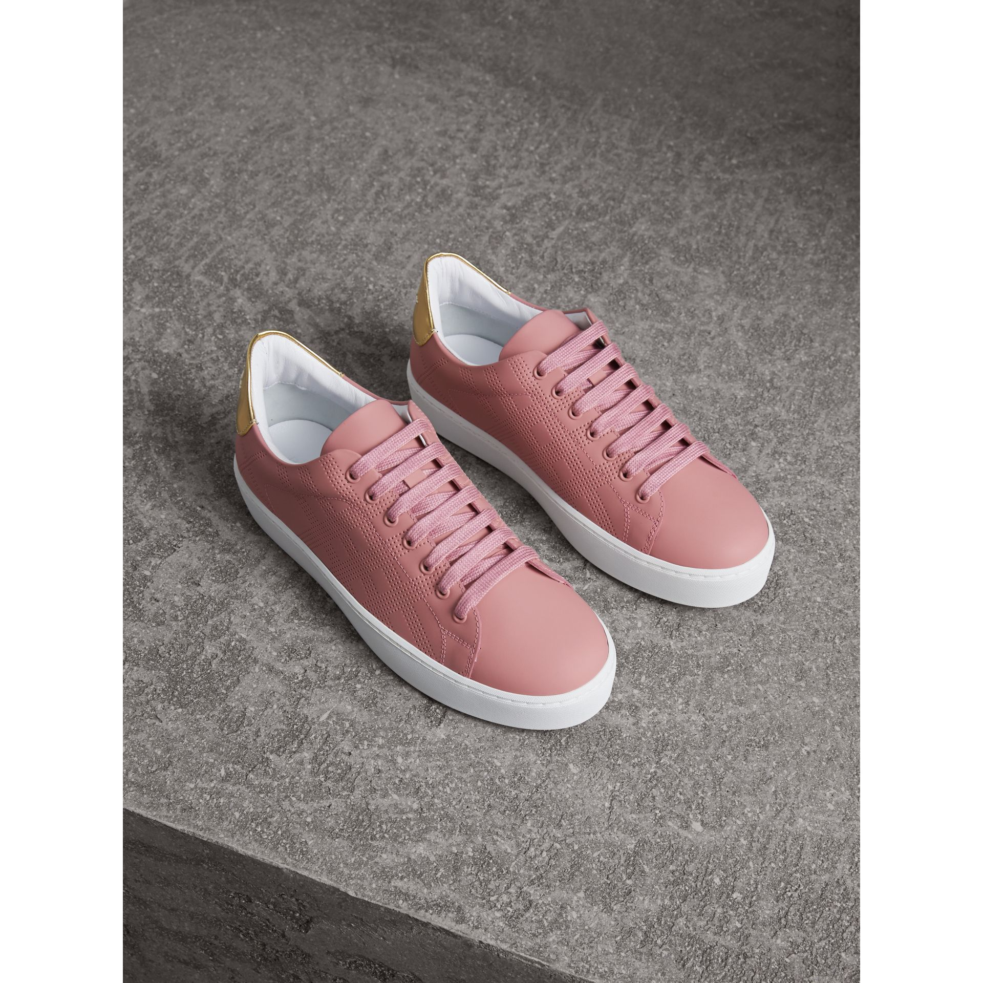 Perforated Check Leather Trainers in Rose Pink - gallery image 1