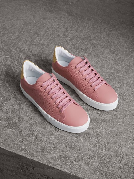 Perforated Check Leather Trainers in Rose Pink
