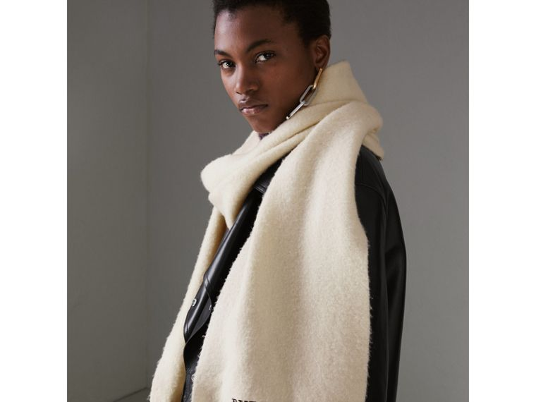Embroidered Cashmere Fleece Scarf in Ivory | Burberry - cell image 4
