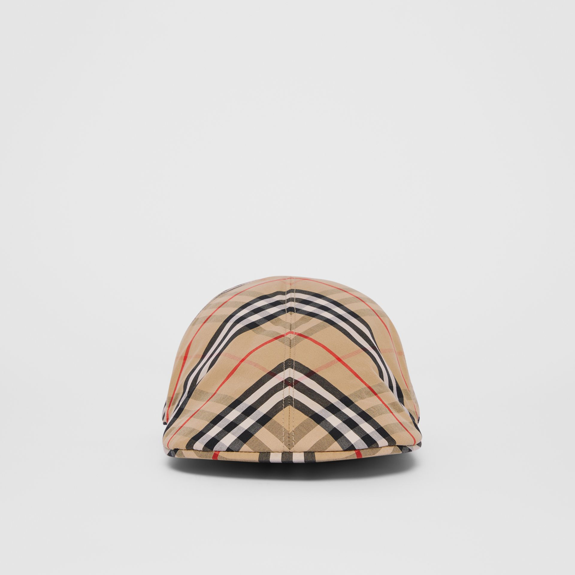 Vintage Check Cotton Flat Cap in Archive Beige | Burberry - gallery image 3