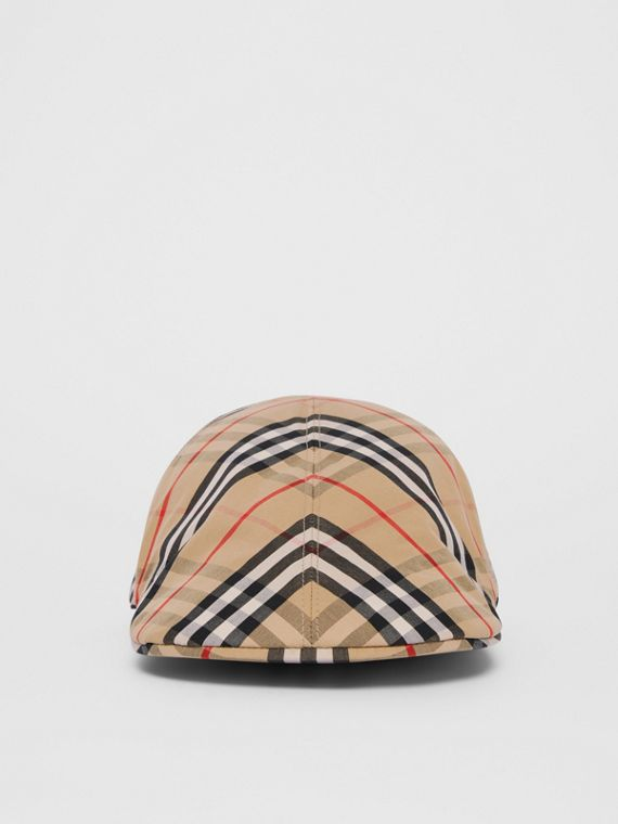 Vintage Check Cotton Flat Cap in Archive Beige