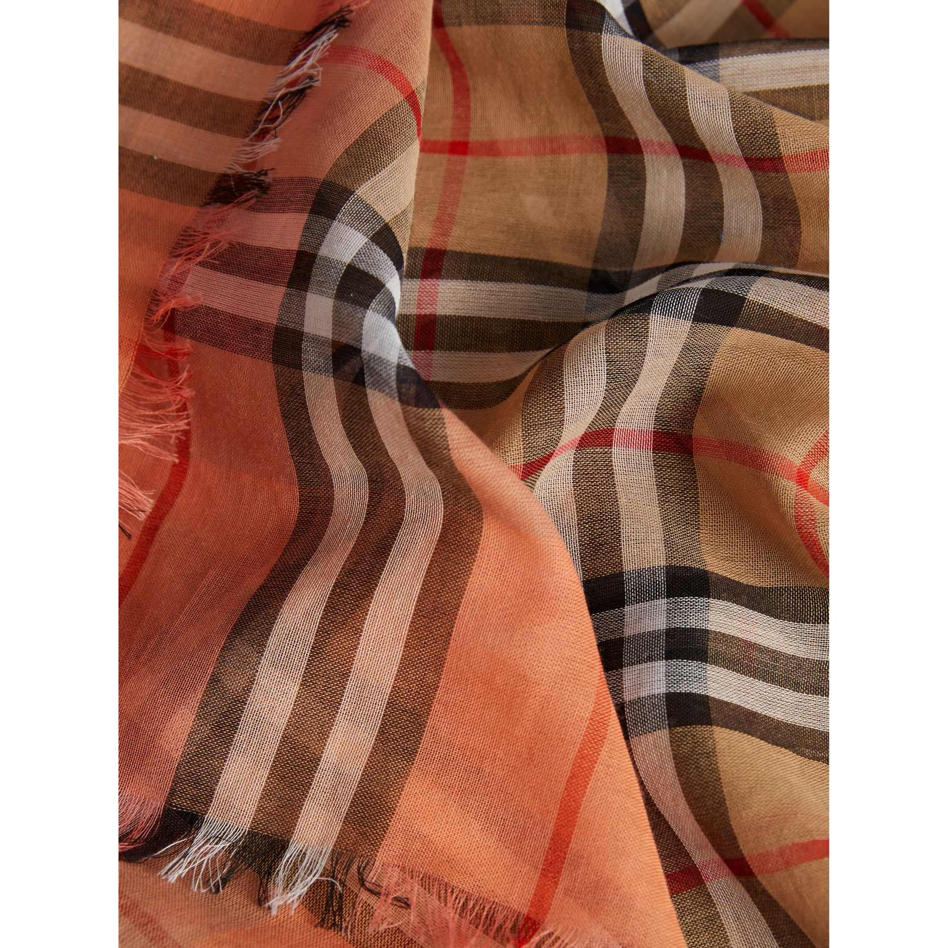 Two-tone Vintage Check Cotton Square Scarf in Coral Rose | Burberry United Kingdom - gallery image 1