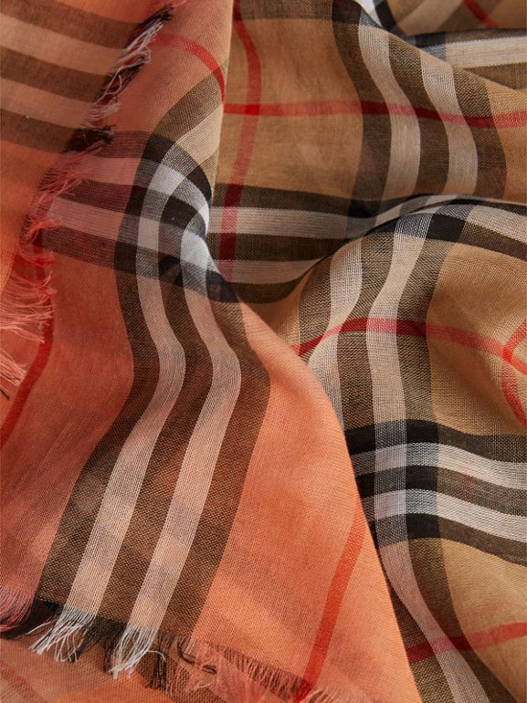 Two-tone Vintage Check Cotton Square Scarf in Coral Rose | Burberry Singapore - cell image 1