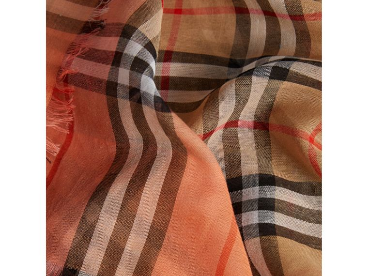 Two-tone Vintage Check Cotton Square Scarf in Coral Rose | Burberry - cell image 1