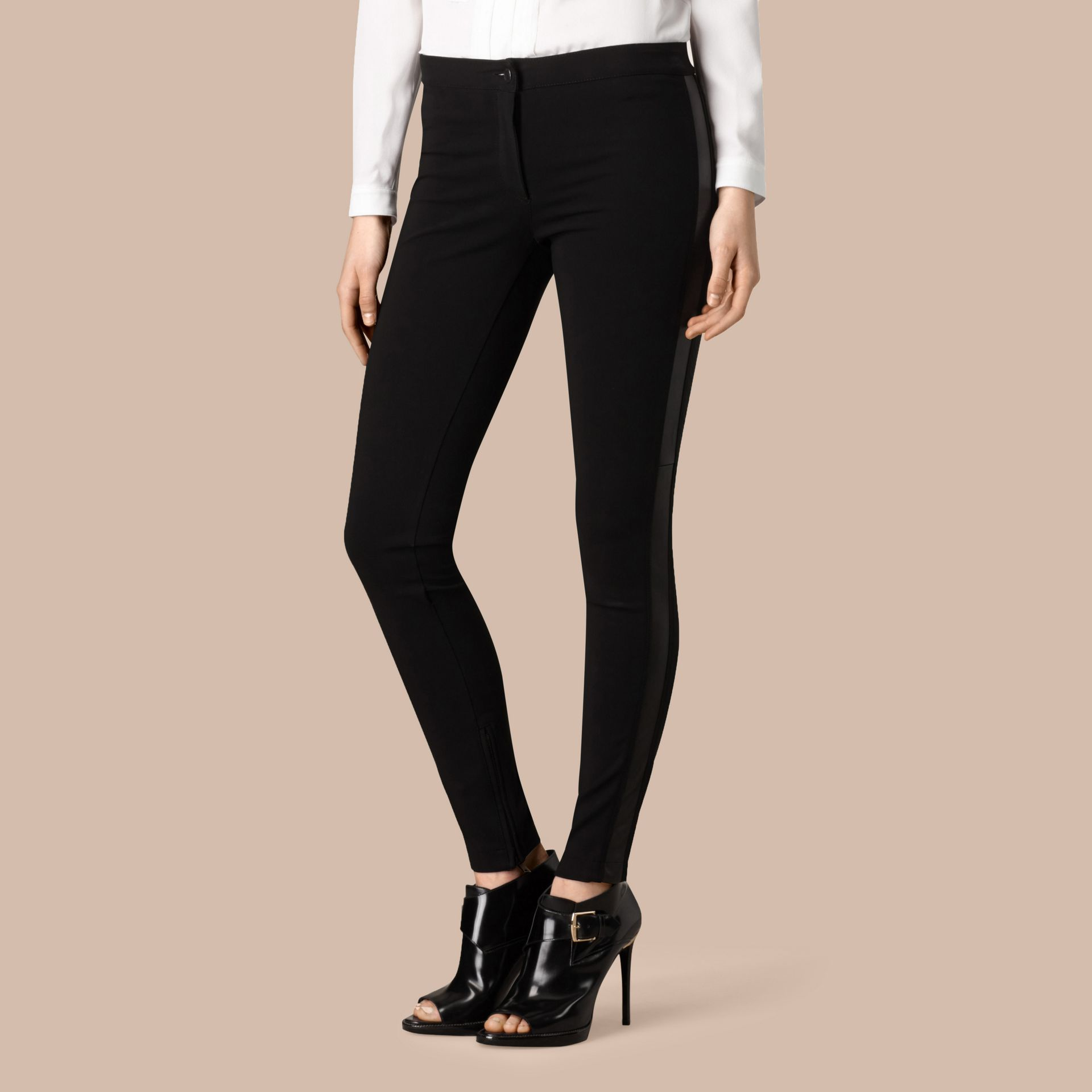 Black Skinny Fit Leather Panel Leggings - gallery image 4