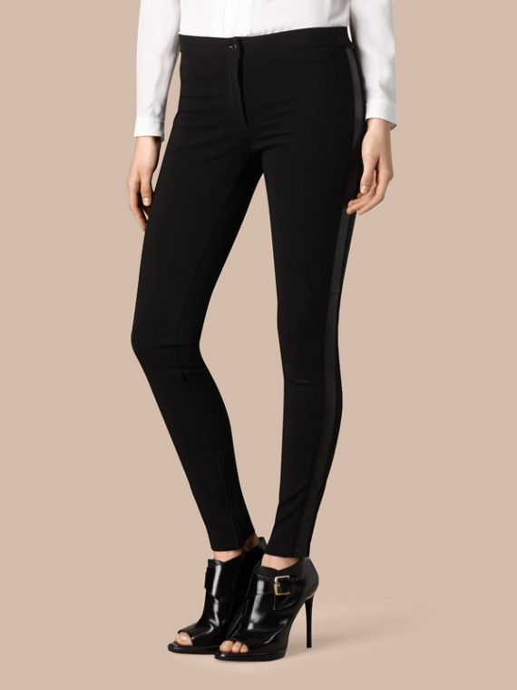 Black Skinny Fit Leather Panel Leggings - cell image 3