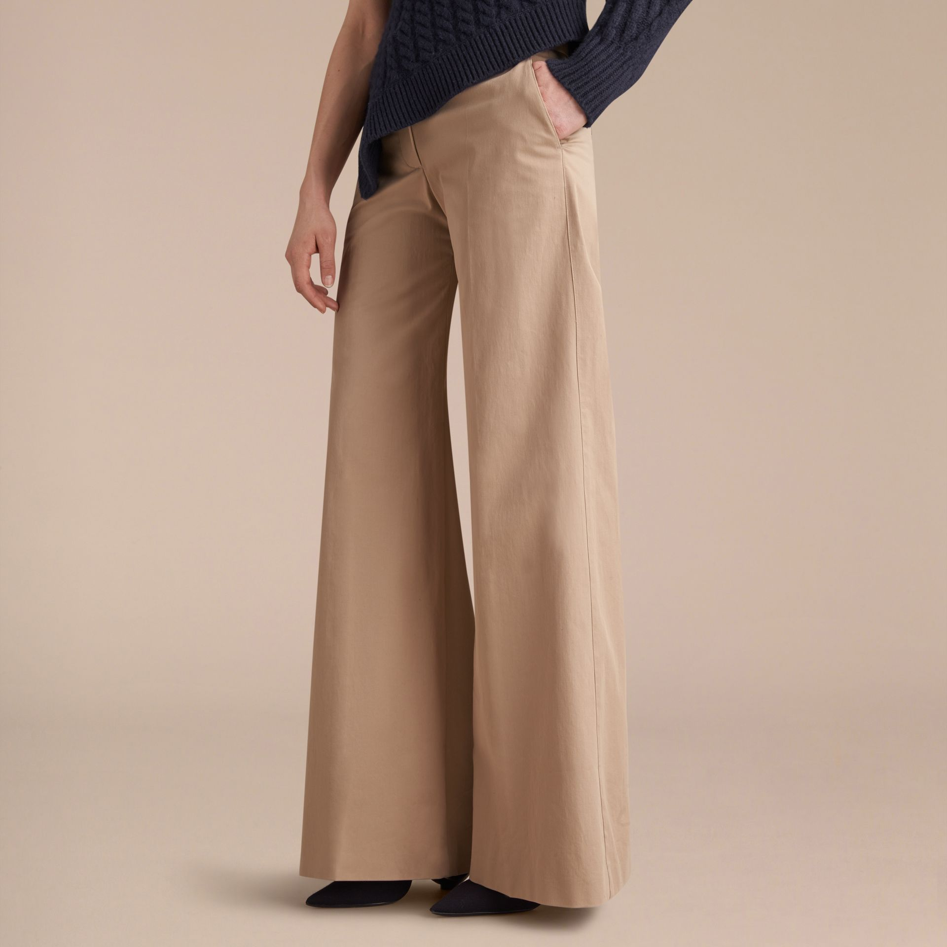 Cotton Twill Wide-leg Trousers - gallery image 6