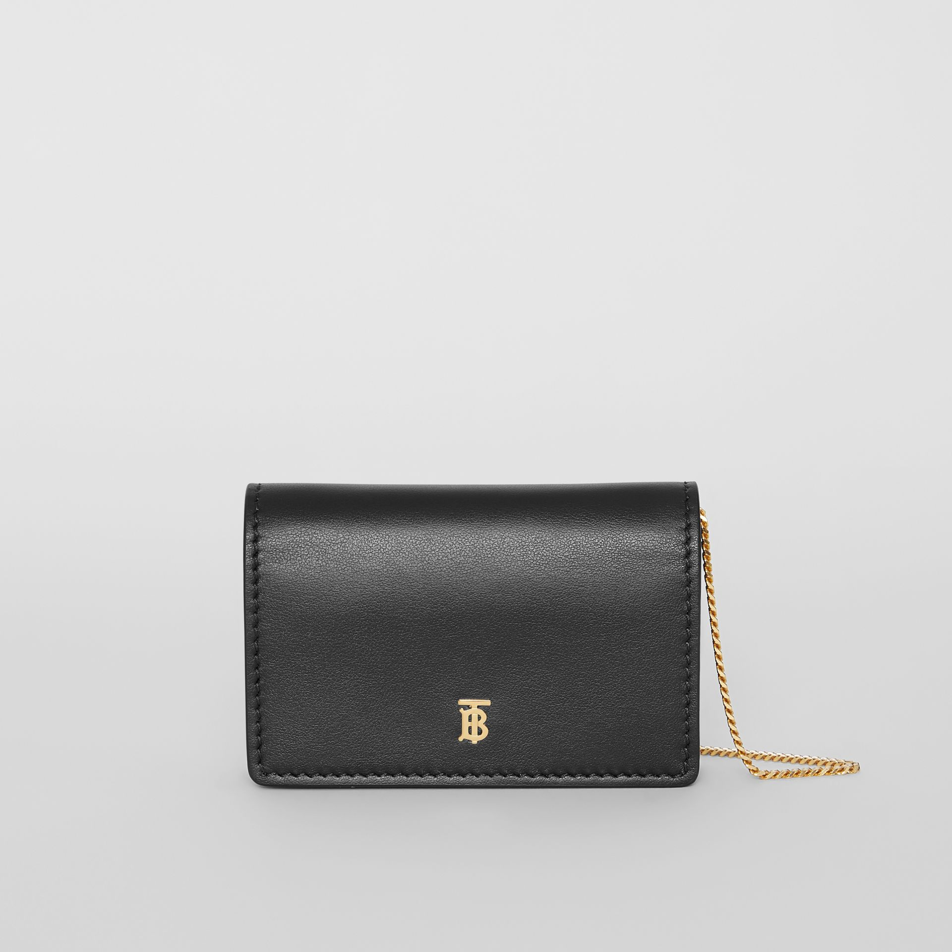 Leather Card Case with Detachable Strap in Black | Burberry - gallery image 0