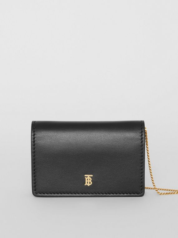 Leather Card Case with Detachable Strap in Black