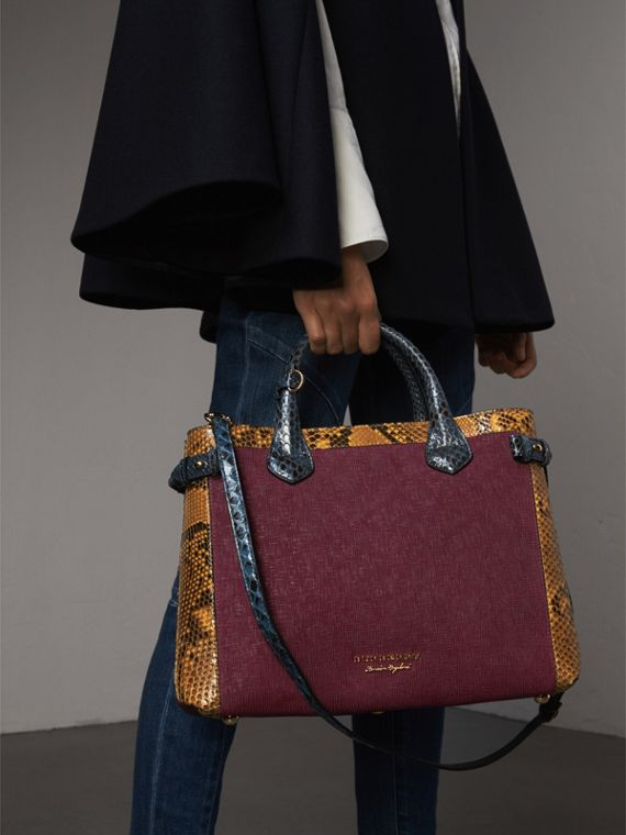 The Medium Banner in Leather, Python and House Check in Elderberry - Women | Burberry - cell image 3