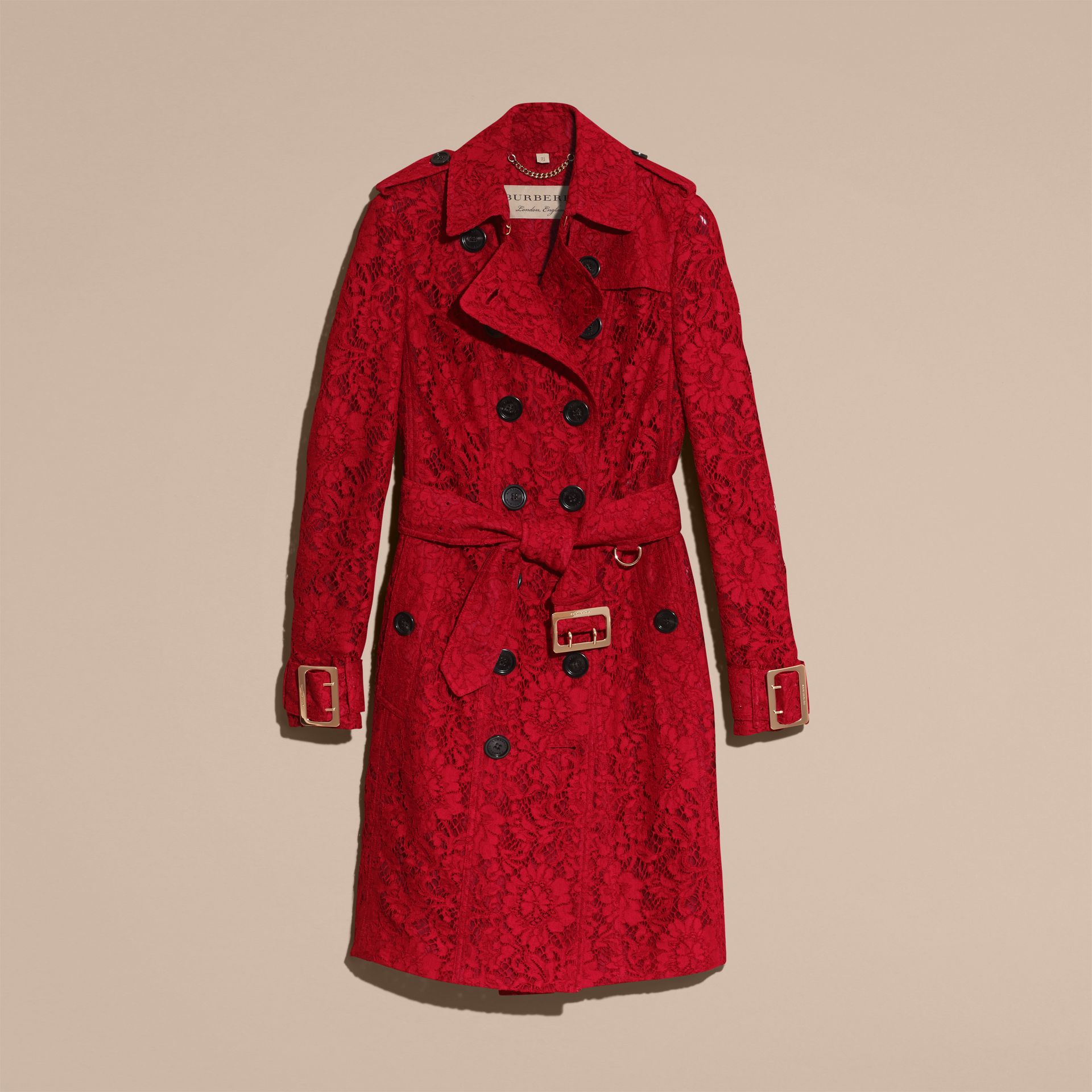 Parade red Lace Trench Coat - gallery image 4