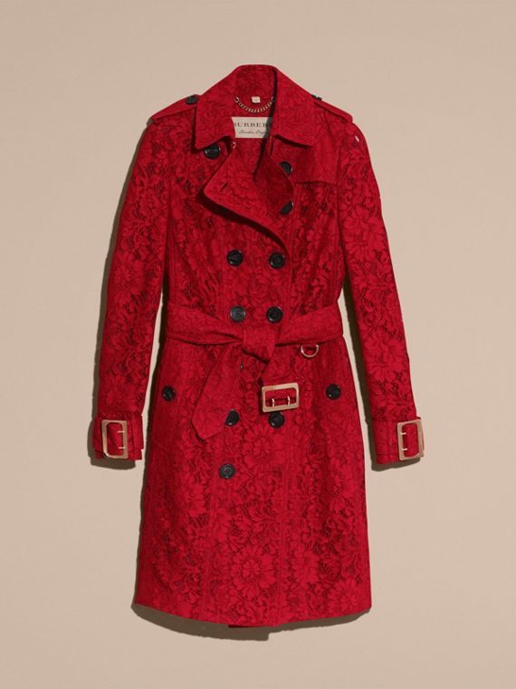 Parade red Lace Trench Coat - cell image 3