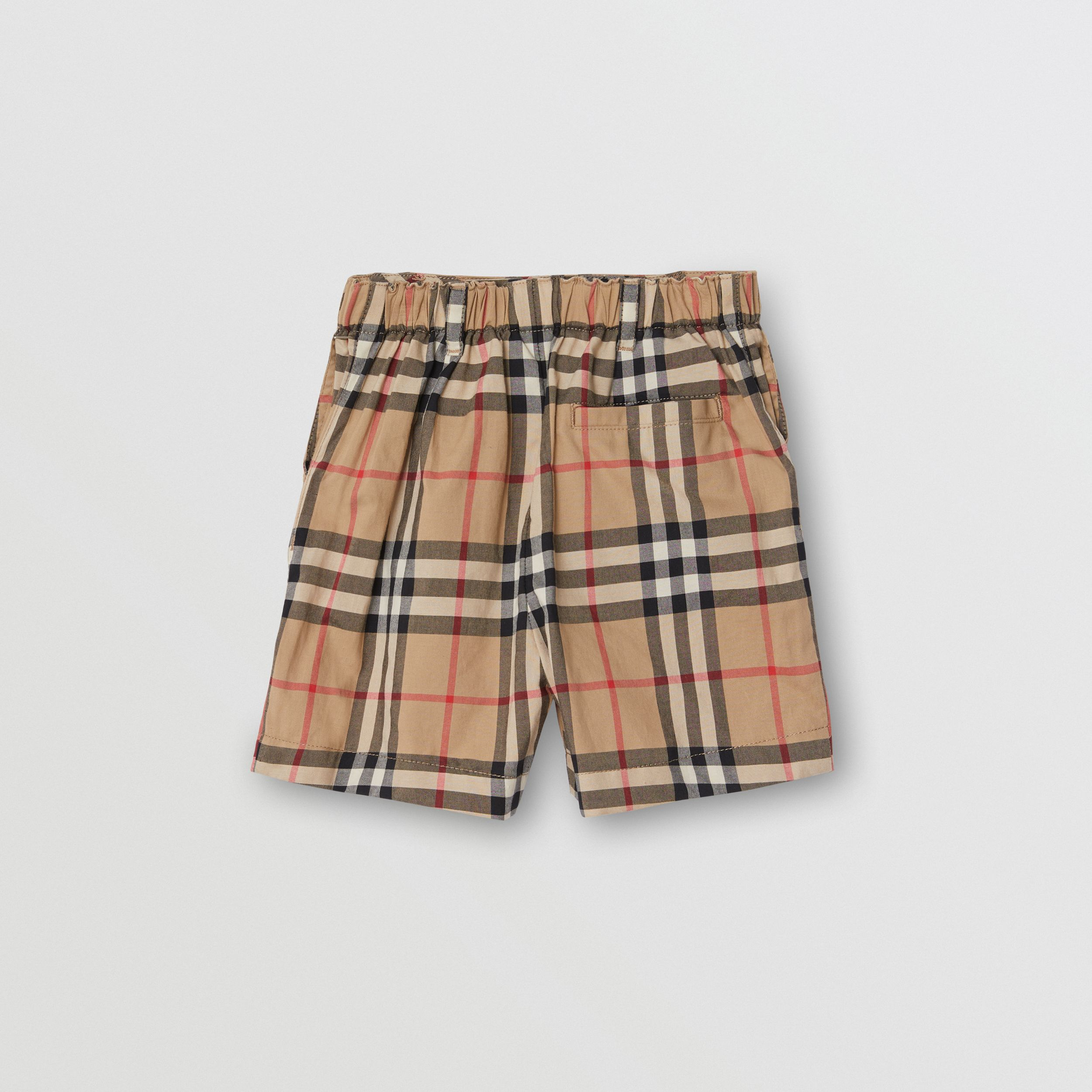 Vintage Check Cotton Poplin Tailored Shorts in Archive Beige - Children | Burberry - 3
