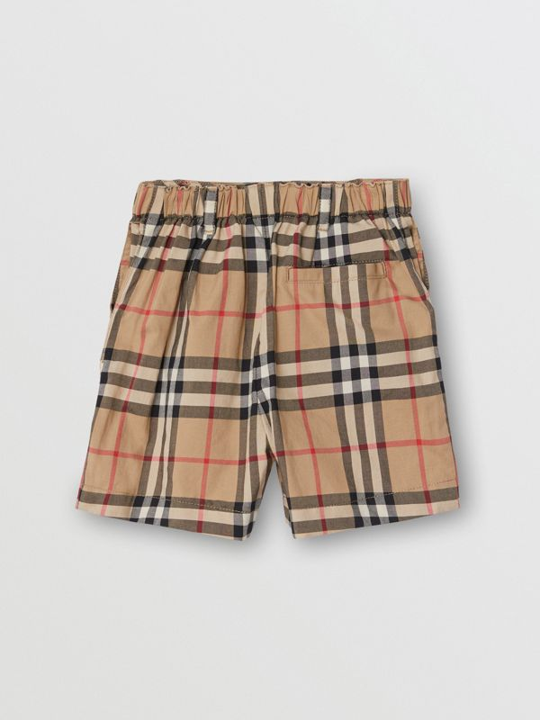Vintage Check Cotton Poplin Tailored Shorts in Archive Beige - Children | Burberry - cell image 2