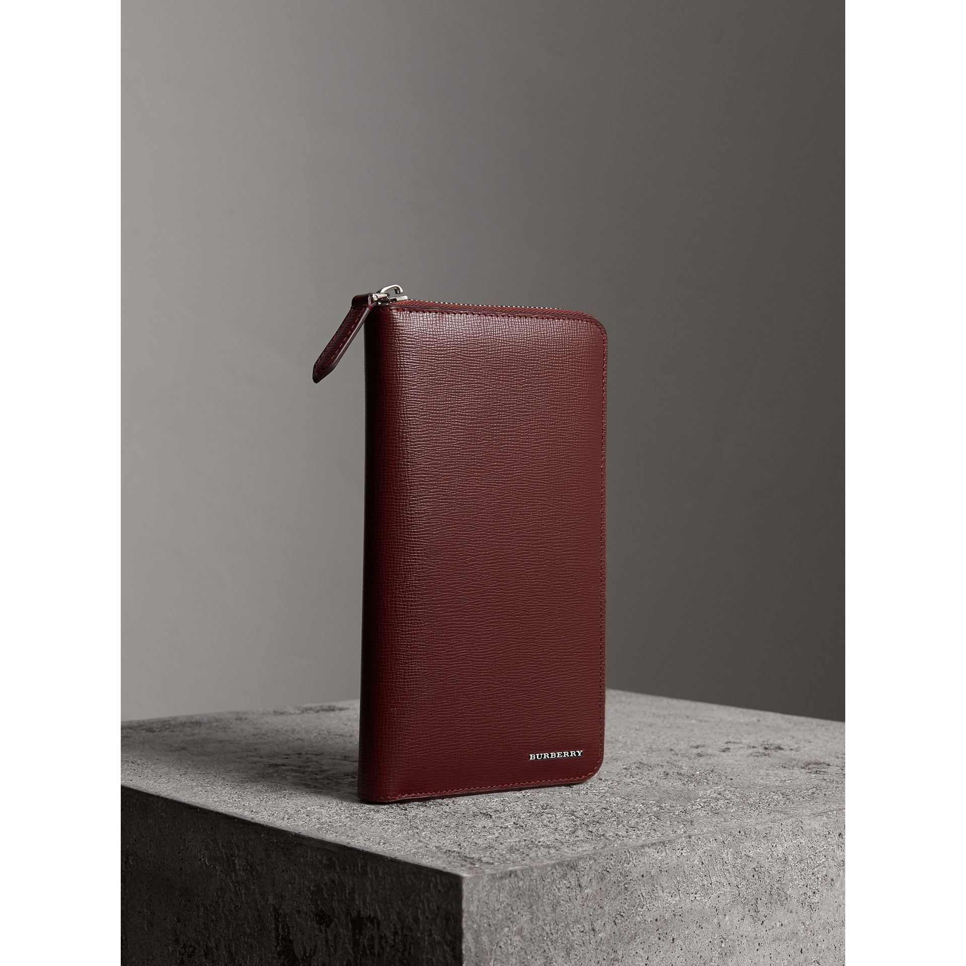 London Leather Ziparound Wallet in Burgundy Red | Burberry - gallery image 1